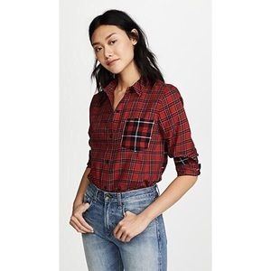 Madewell plaid red shirt sz:Xs NWT Comfy boyfriend